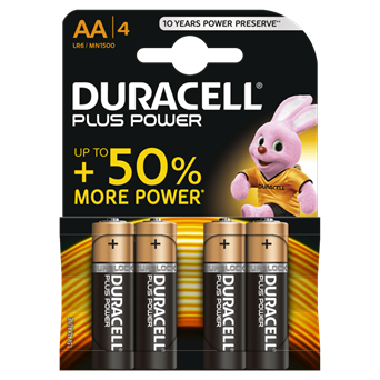 Duracell Plus Power Aa Batteries 4s (MN1500B4PP)